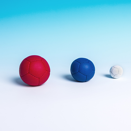 From left: Normal Boccia ball, Boccia Petite and Mini boccia ball